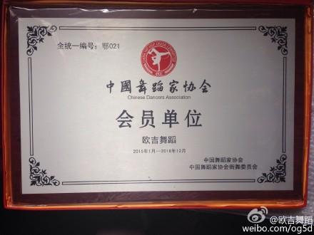 【欧吉舞蹈】被【中国舞蹈家协会街舞委员会】授予会员单位称号。
